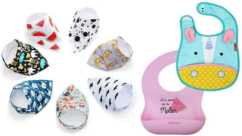 A variety of colourful and fun bibs, including bandana bibs and silicone waterproof feeding bibs