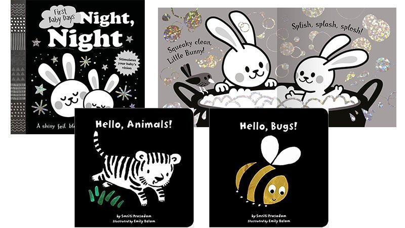 A collection of black and white baby board books for visual stimulation and development