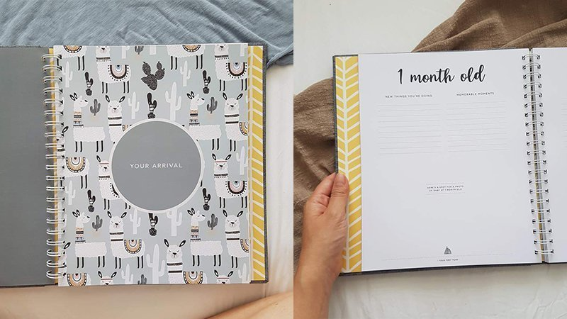 Inner pages of a Nordic style baby memory book