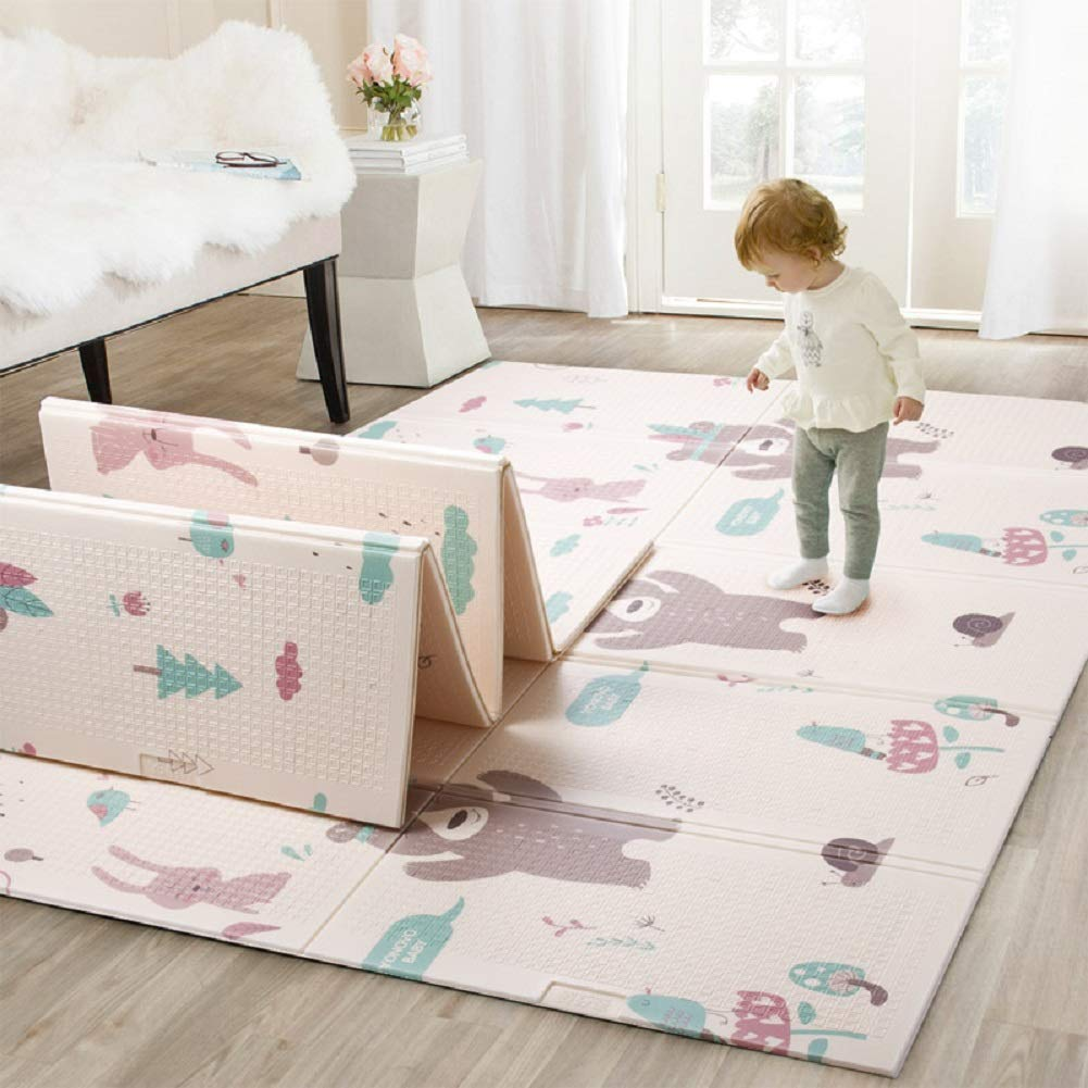 Waterproof foldable baby play mat with Nordic minimalistic bear and forest design