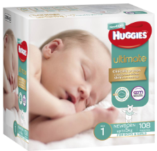 Huggies Ultimate Nappies Newborn 108pk jumbo