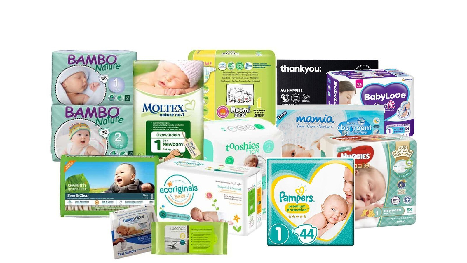Australia newborn nappy brands - Huggies, Babylove, Aldi Mamia, Tooshies by Tom