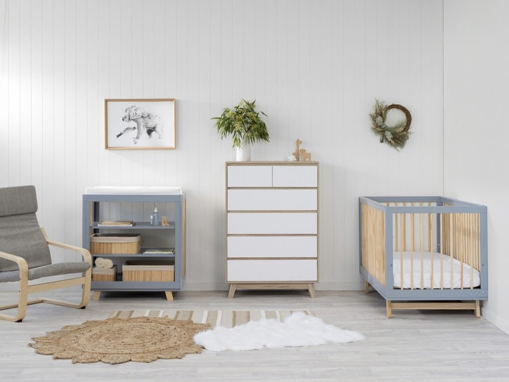 modern nursery room package deal with grey and wooden furniture