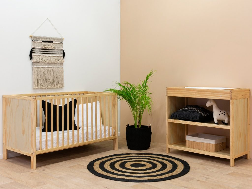 wooden cot and change table nursery furniture package