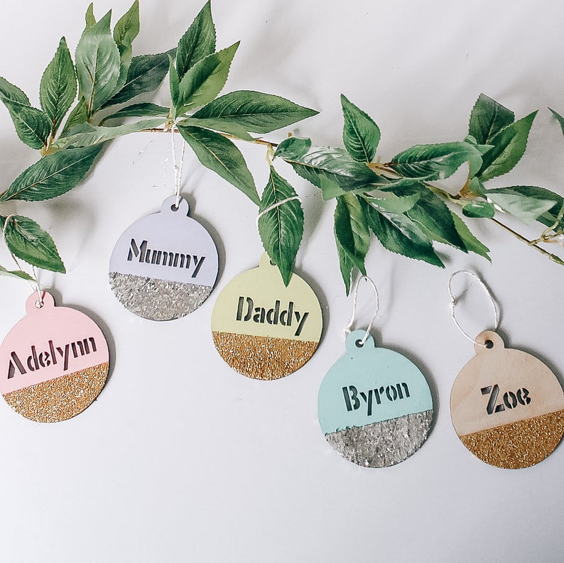 Glitter Colour Block Christmas Hanging Ornament