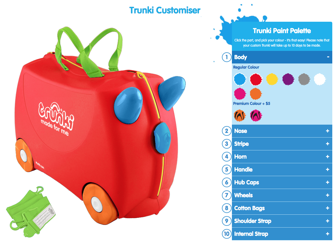 Customise your trunki kids ride-on suitcase - choose your colours
