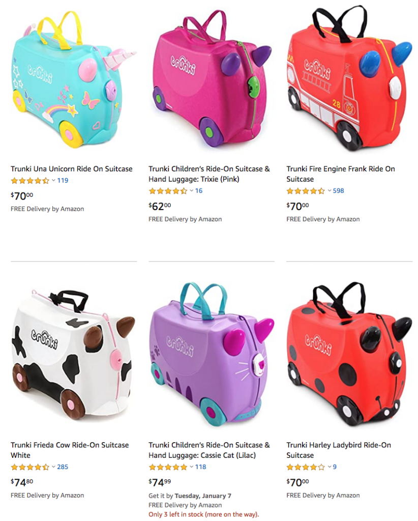 Trunki kids ride-on suitcase - 30% off on Amazon Australia