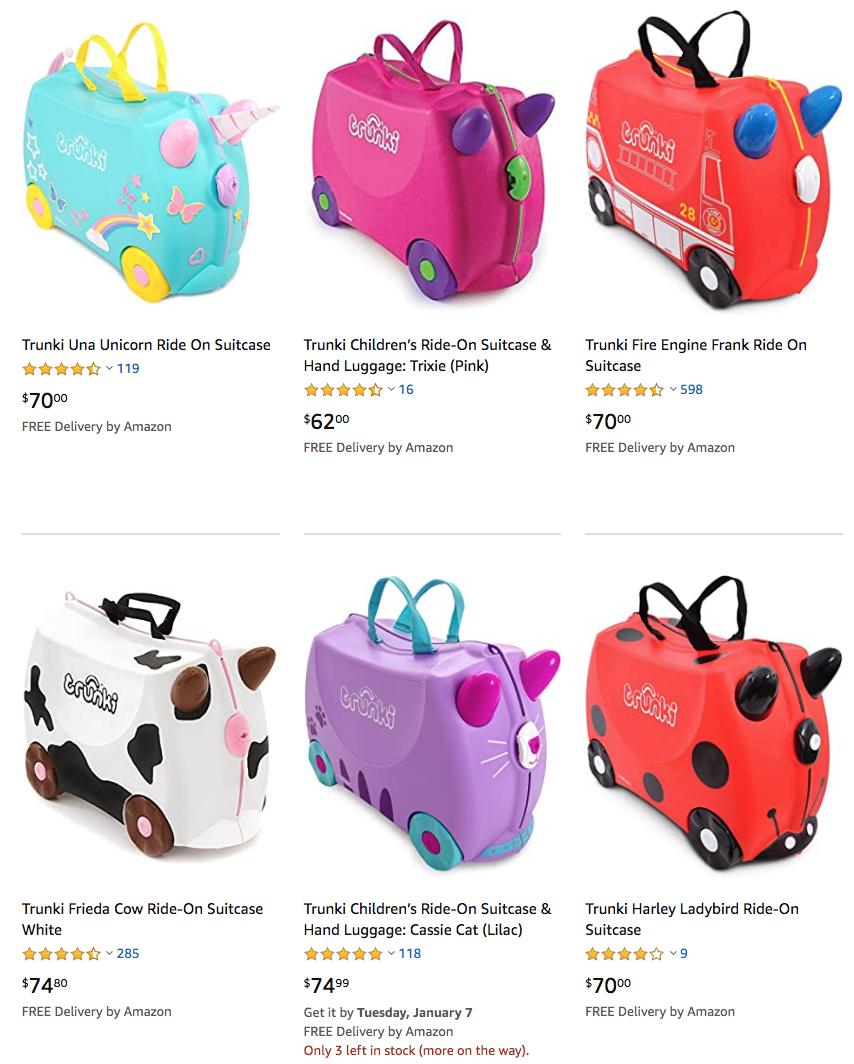Trunki kids ride-on suitcase - 30% off on Amazon Australia