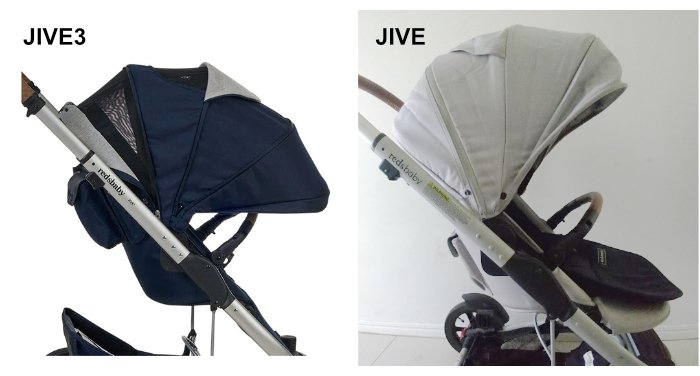 Side view comparison of Redsbaby Jive and Jive 3 showing the length of the canopy