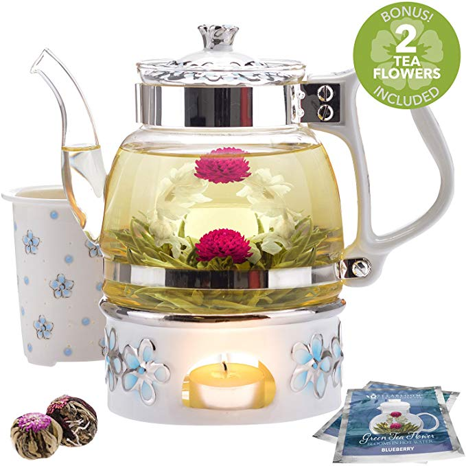 Teabloom Princess of Monaco Teapot & Blooming Tea Gift Set (6 Pieces)
