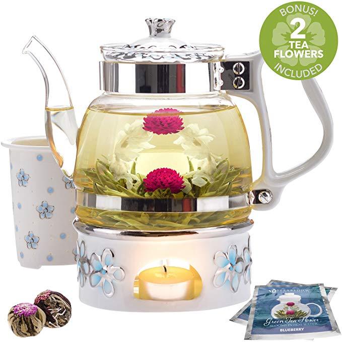 Teabloom Princess of Monaco Teapot & Blooming Tea Gift Set (6 Pieces)