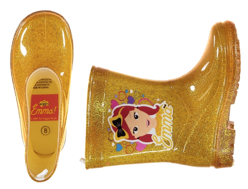 Emma Wiggles yellow glitter translucent gumboots from Best and Less