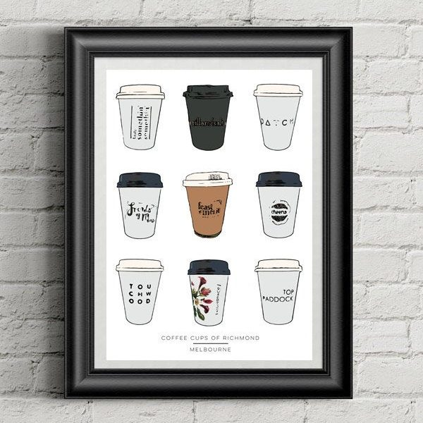 Melbourne Print Coffee Cups of Richmond