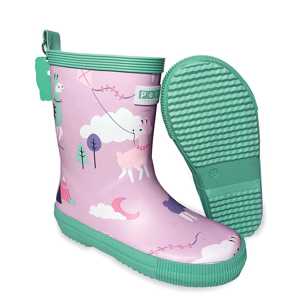 Penny Scallan Design Lilac and Green  Gumboots Loopy Llama with clouds, moon and trees