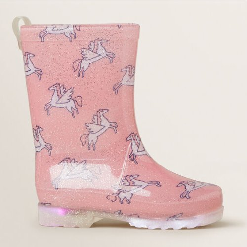 Pink unicorn glitter light up girls gumboots