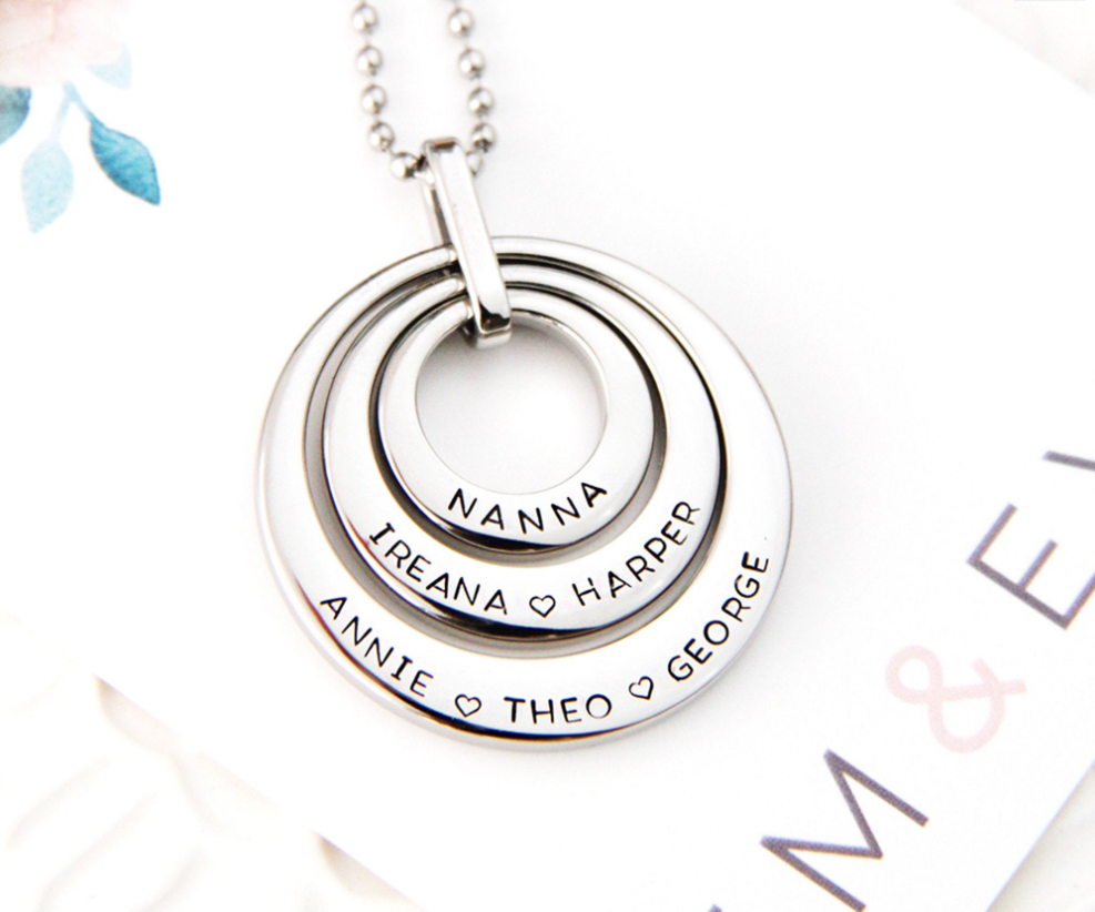 Generation name necklace, personalised handstamped jewellery