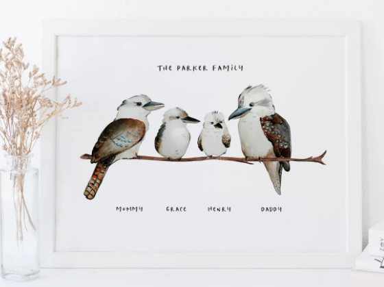 PERSONALISED KOOKABURRA FAMILY PRINT by The Thoughtful Gift Company