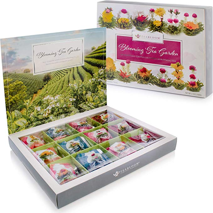 Tea chest with variety flower teas