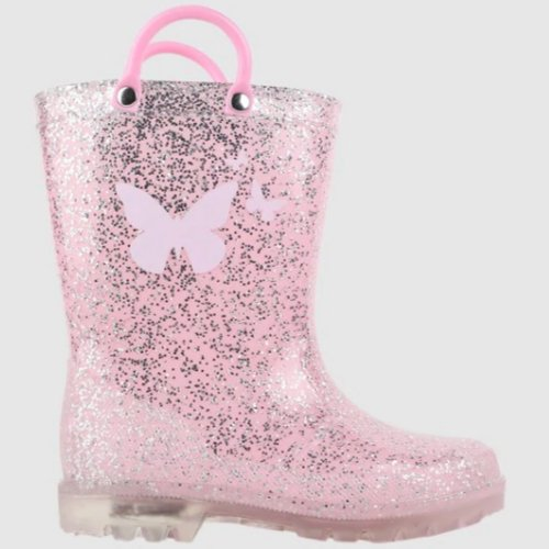 butterfly glitter pink light up girls gumboots by Kicks from shoes and sox