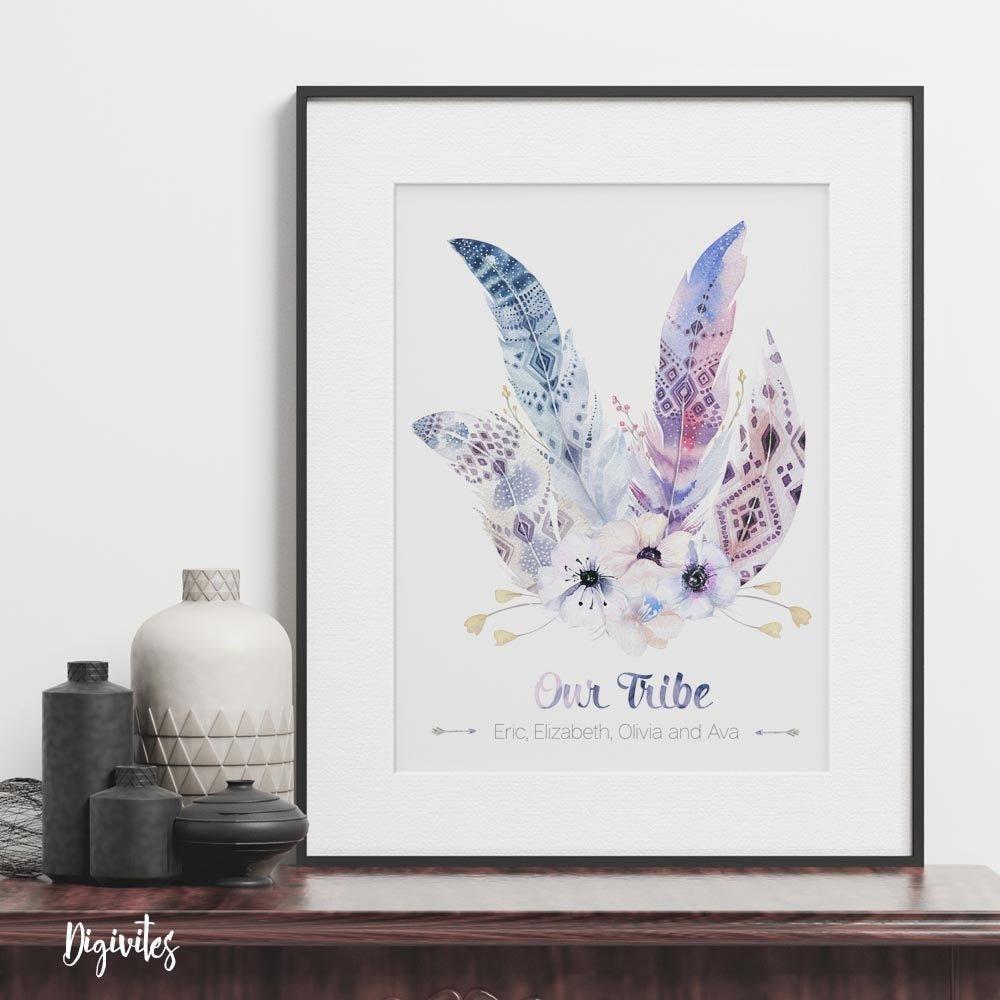 Our Tribe - Boho design family name personalised custom print