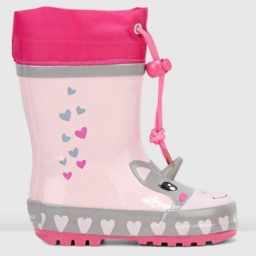 pink unicorn love heart girls gumboot