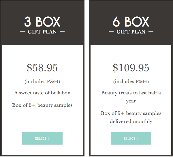 bellabox beauty box gift plan pricing table