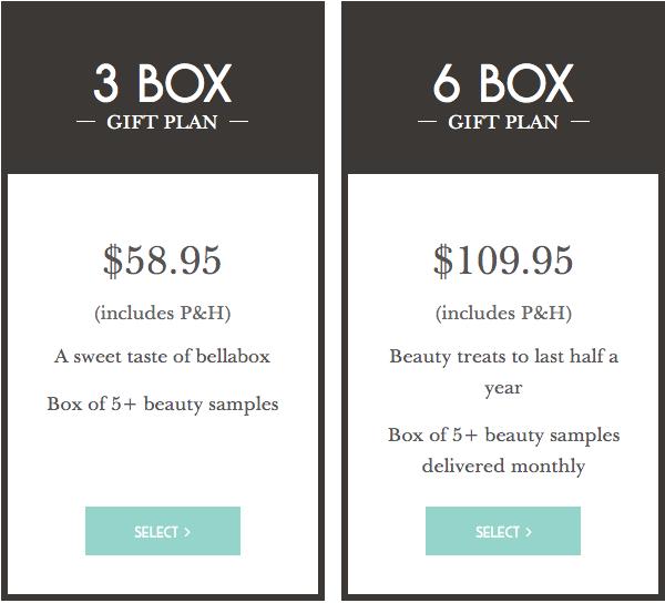 bellabox beauty box gift plan pricing table