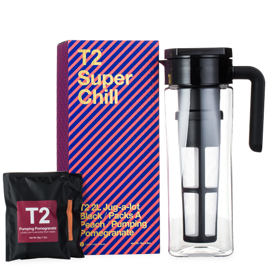 T2 gift set with tea flask and pomegrante tea