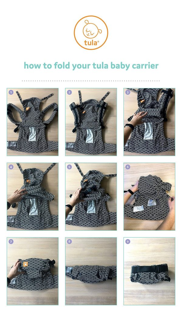 Step by step instructions how to fold a baby carrier