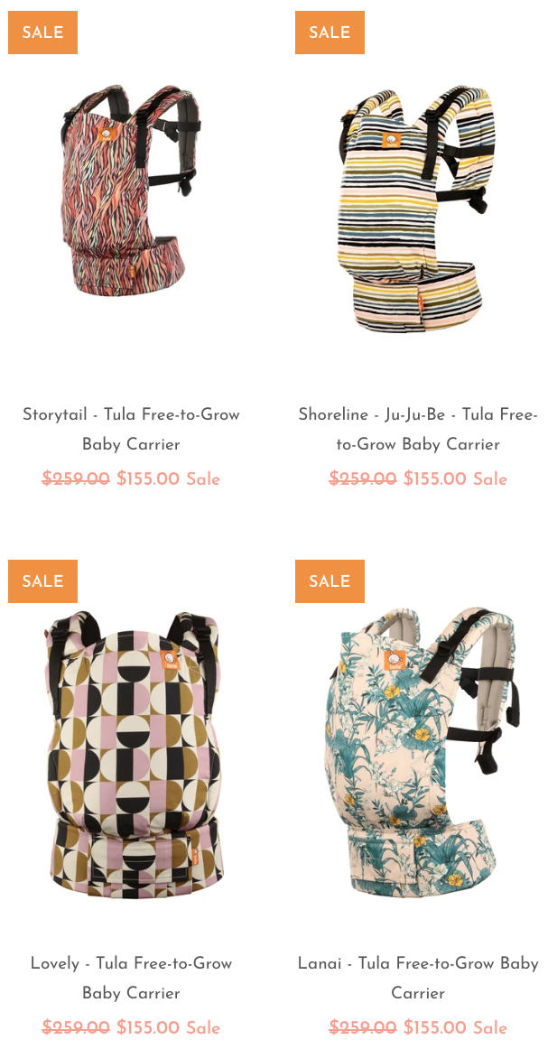 Baby Tula baby carriers on sale - up to 40% off stripes, florals and geometric print patterns