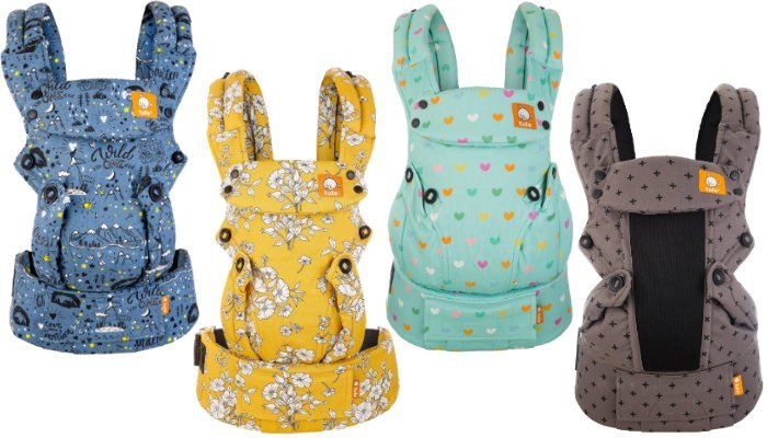 baby tula explore baby carrier designs - abstract blue mountains, yellow and white flowers, mint with colourful love hearts, brown with black stars
