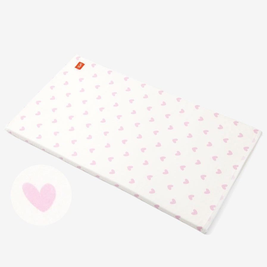 cotton cot sheet white and pink hearts